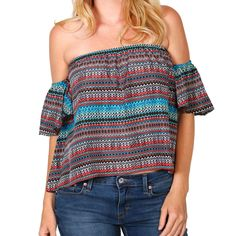Cowgirl Up Women's Cold Shoulder Crop Blouse