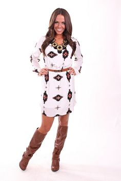 Lime Lush Boutique - Off White Aztec Dress with Tan Belt , $59.99 (http://www.limelush.com/off-white-aztec-dress-with-tan-belt/)