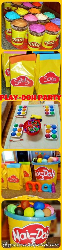 Play-doh birthday party ideas for kids - play dough cupcakes, activities