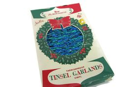 Vintage Christmas Tinsel, 1970's Tinsel Garland, Christmas Tree Garland, Blue, Green, Mid Century, Christmas Decor by ThirstyOwlVintage on Etsy https://www.etsy.com/listing/166982332/vintage-christmas-tinsel-1970s-tinsel