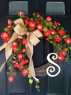 Morning Glory Wreath Summer Wreath Fall Wreath by jennyCmoon