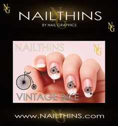 VINTAGE BIKE BICYCLE  Nail Art  Nail Decal  Nail Design  not water slide on Etsy, $4.00