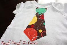Baby Boy Tie Appliqued Onesie  Razzle by Craftycupcakegirl13, $14.00