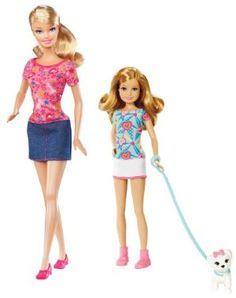 Barbie Sisters Pup Walk Barbie and Stacie Doll 2-Pack by Mattel. $24.75. Features cute puppy that bobbles to bring it to life. Collect both sets of Barbie Sister 2-Packs, to reunite all 4 sisters together. A must have in every girls Barbie collection. Barbie and Stacie in their own individual fashion and style. 2-pack includes Barbie and Stacie dolls and accessories. From the Manufacturer                Barbie Sisters Pup Walk Barbie and Stacie Doll 2-Pack: Barbie...