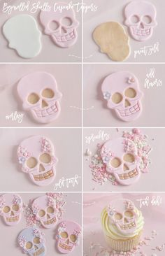 How To: Bejewelled Skull Cupcakes For Halloween - Love Catherine Happy Halloween, Halloween Sweets, Halloween Baking, Halloween Cupcakes, Halloween Birthday, Pink Halloween, 35th Birthday, Vintage Halloween, Halloween Ideas