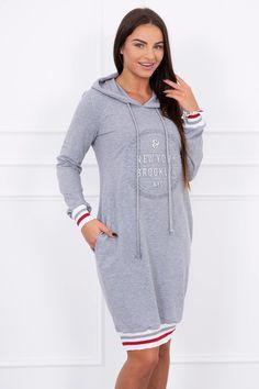 Dámske športové šaty s kapucňou a potlačou Brooklyn sivé Calvin Klein, Cold Shoulder Dress, Shirt Dress, Brooklyn, Sweaters, Shirts, Places, Dresses, Products