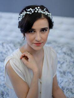 Pearl Crown Pearl Wedding Headband Bridal Bridal Pearl Headpiece Crystals on Etsy, £43.64