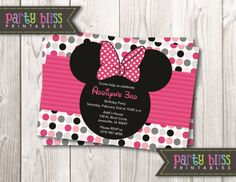 Oh So Cute - Minnie Mouse Digital Invitation 6, $7.99