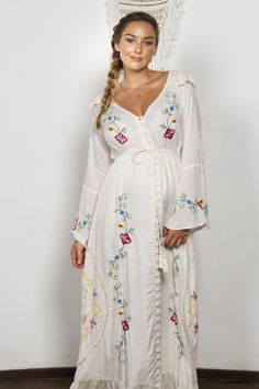 """Stevie"" Women's embroidered duster - Pink vanilla Fillyboo - Boho inspired maternity clothes online, maternity dresses, maternity tops and maternity jeans."