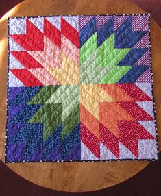 Rainbow Star Baby Quilt! Pattern by Kristy at Bonjour Quilts. Pieced and Quilted by me!  Needle & Foot