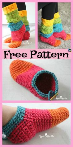 Crochet Chunky Cake Slipper Socks - Free Pattern hausschuhe anleitung kostenlos Calzini a pantalone grosso a uncinetto - Motivo gratuito - Uncinetto Crochet Slipper Boots, Knitted Slippers, Crochet Shoes, Slipper Socks, Crochet Clothes, Chunky Knitting Patterns, Knitting Socks, Knit Socks, Crochet Patterns
