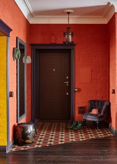 Color Trends From the 2019 Maison & Objet Design Show Foyer Flooring, Brick Flooring, Floors, Foyer Design, Staircase Design, Brown Front Doors, Do It Yourself Decoration, Haus Am See, Red Brick Walls