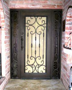 First Impression has a wide selection of wrought iron entry doors. Steel doors offer beauty and security. Door Grill, Wrought Iron Doors, Composite Door, House Front Design, Steel Doors, Entrance Doors, Exterior Doors, Porch Decorating, Windows And Doors