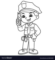 Police Officer Boy Checking Information With Walky Talky BW.