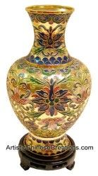 Chinese Art / Chinese Collectibles: Chinese Cloisonne Vase – Wealth Flowers