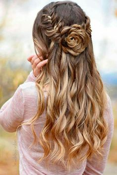 Prom Half Up Half Down Hairstyles Source hair styles, easy hairstyles, wedding hairstyles, Wedding Hair Down, Boho Wedding, Wedding Menu, Prom Hair Down, Trendy Wedding, Wedding Half Updo, Spring Wedding, Wedding Nails, Wedding Hair Curls