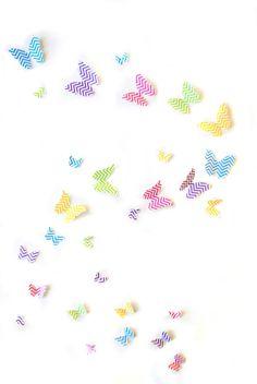 Chevron Butterflies 3D Wall Art- Set of 40 Girls Room, Nursery Decor, Teens Room, Baby Shower, Kids Room Ideas, Decal on Etsy, $18.50