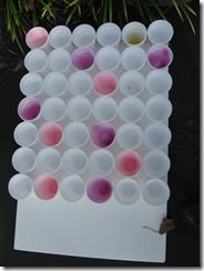 Ping Pong Toss, using Solo Cups glued to a piece of foam core. The colored cups earn a bigger prize...
