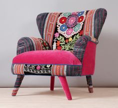 Hey, I found this really awesome Etsy listing at https://www.etsy.com/listing/180283998/suzani-armchair-pink-fever