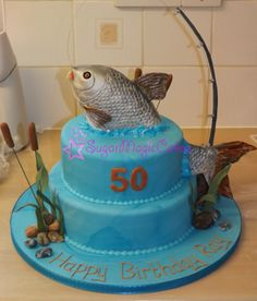 Splashing fish, jumping out of the water! Fish is made all from cake, just the fishing line is inedible :)