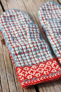 The inspiration for these mittens came after a visit to Latvia and from looking at all the beautiful latvian mittens there. These mittens knitted in three colors, but only using two colors per row.