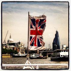 #unionjack flying on #boat trip down the #thames #stpauls #london #kookylondon beautiful #summer day. Get the Kooky London #iphone #App here  https://itunes.apple.com/gb/app/kooky-london/id625209296?mt=8 #England #greatbritain #UK very #English #British flying the flag! #photography #photoftheday #igers #instart