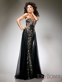 TONY BOWLS TBE11332 Black Chiffon over Sequin Gown Black $695 FREE WORLD DELIVERY * FREE GIFT WRAPPING * FREE RETURNS * 100% QUALITY ASSURANCE GUARANTEED..FOLLOW US ON POLYVORE! WE HAVE JUST BEEN HONORED WITH THE OFFICIAL BLACK SEAL ALONG WITH GUCCI & OTHER GREAT COMPANIES! SAVE $55.00 ON THIS GOWN UNTIL DEC 21st!