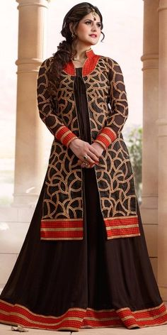 Georgeous Brown Georgette Anarkali Suit With Dupatta