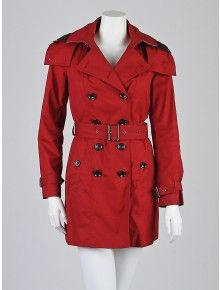Burberry Brit Damson Red Cotton Mid-Length Hooded Warmer Trench Coat Size 2