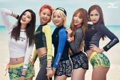EXID Show Off Their Healthy Beauty in Summery Mizuno Korea Pictorial J Pop, Kpop Girl Groups, Korean Girl Groups, Kpop Girls, Hani, Exid Kpop, Rapper, Promotion, Fandom