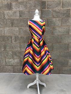 Rainbow Chevron Swing Dress