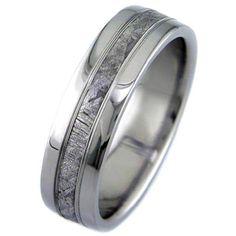 Meteorite Rings with Accent Lines Titanium Rings with meteorite inlay [meteoriteaccents] - $415.00 : Titanium Ring Company: Meteorite Wedding Rings in Titanium, Black Zirconium and Cobalt Chrome