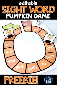 Pumpkin Sight Word Game FREEBIE Free sight word game for kindergarten and first grade kids this fall. This free pumpkin game is perfect for fall literacy centers. Teaching Sight Words, Sight Word Practice, Sight Word Activities, Reading Activities, Guided Reading, First Grade Sight Words, Reading Games, Preschool Sight Words, Seasons Activities