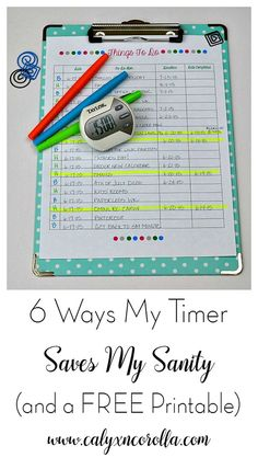 My timer helps me to stay organized, tackle my to-do's, and keep my life on track. Here are 6 ways my timer saves my sanity, plus a FREE printable!