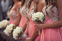 bridesmaids dresses. pink, sparkle and glam, flowy, sweetheart neck, strapless!