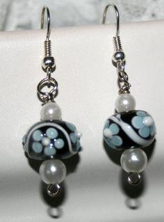 Lampwork bead earrings with blue flowers by DakotaDesignsbyVicki, $20.00
