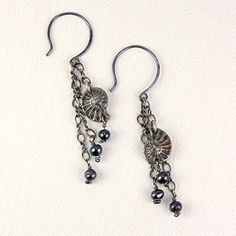 Ammonite Dangle Earrings, Sterling with Dark Patina, with Black Pearl -- Click on the image for additional details.