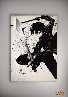 Sword Art Online SAO Kirito  Watercolor Print  Archival Print  Art Print  Wall Decor Art Poster Anime  Manga  Cartoon Multi Size on Etsy, 31,44zł