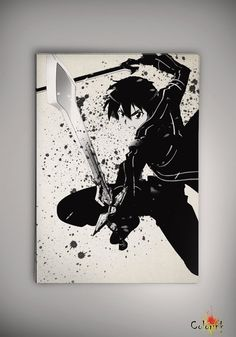 Sword Art Online SAO Kirito Watercolor Print Archival Print Art Print Wall Decor Art Poster Anime Manga Cartoon Multi Size on Etsy, 31,44 zł