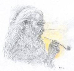 Gandalf by firelight by Pika-la-Cynique.deviantart.com on @deviantART
