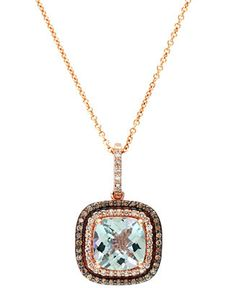EFFY 14k Rose Gold Aquamarine (1-5/8 ct. t.w.) and Diamond (1/4 ct. t.w.) Cushion Cut Pendant - Necklaces - Jewelry & Watches - Macy's