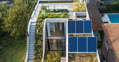 """Sustainability-minded at every step, the architects at Bam! Arquitectura created a """"3D garden"""" of sorts, where each level of the home has access to greenery."""