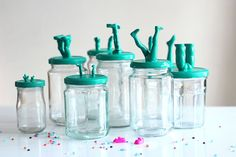 With a bit of creativity recycling old toys can be cute, quirky and incredibly clever. Here are our top 14 ways to upcycle old toys Mason Jar Hanger, Mason Jars, Do It Yourself Decoration, Diy Inspiration, Jar Storage, Storage Containers, Jar Crafts, Crayon Crafts, Old Toys