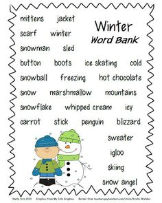 Winter Writing Paper/ Word Bank