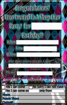 62 best anniversaire monster high images on pinterest monster high another invitation i designed for a monster high themed sleep over birthday party i once maxwellsz