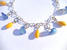 Blue and Yellow Bracelet by KatieBugCreations4U on Etsy, $13.00