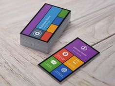 Flat Metro Style Design - Modern Colors Tiles Business Card