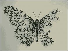 butterfly made from butterflies   cross-stitching