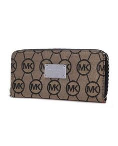 PRODUCTS DESCRIPTION * Michael Kors Wallet circle Logo Brown. * Brown signature logo canvas. * Golden hardware. * Zip-around top with logo pull. * Logo plaque at center. * Inside, center zip compartment separates sides with card slots.