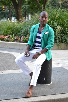 Saw these colored blazers at Target and thought No Way! But this guy pulls it off. Love the tank top underneath. Maybe next summer.